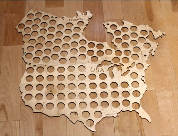 Custom Order for Mabel Beer Cap Map of Canada/USA, Masterpiece
