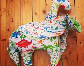 Kiddies Dinosaur neck cushion with portable blanket neck scarf: part proceeds donated to cute causes