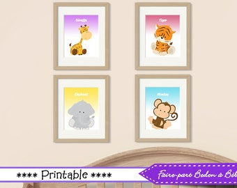Jungle nursery wall art, jungle decor nursery, kids bedroom Jungle posters, jungle art, kids jungle decor