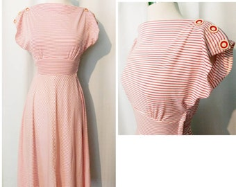 Young Edwardian by Arpeja White and Red Striped 70s Dress