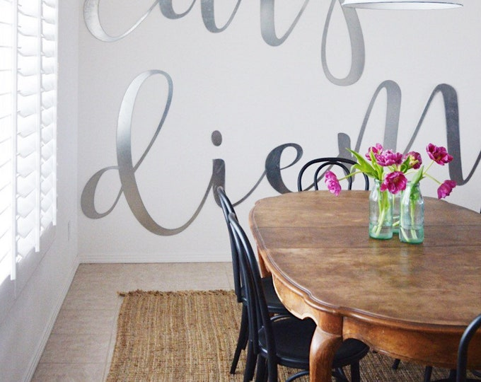 Featured listing image: Carpe Diem || Giant Wall Words || Huge Wall Sign || Industrial Style Decor || Modern Farmhouse || Full Wall Sign || Loft Sign ||