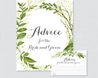 Printable Wedding Advice Cards - Greenery Advice for the Bride and Groom Cards & Sign, Green and White Wedding Reception Activity 0007