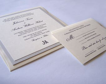 Square Wedding Invitation - Classic Wedding Invitation - Formal Wedding Invite - Wedding Invitation Suite - Wedding Invite Package