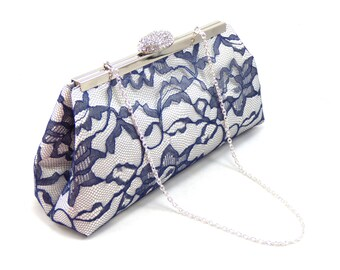 Bridesmaid Gift Clutch, Ivory, Navy Blue and Silver Bridal Clutch Wedding Clutch Mother Of The Bride Gift, Bridal Shower Gift, Gifts For her