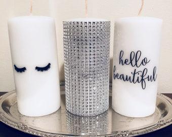 Fashion Designer Eyelashes Candle, Rhinestone Bling Candle, Hello Beautiful  Candle! Make Room Decor