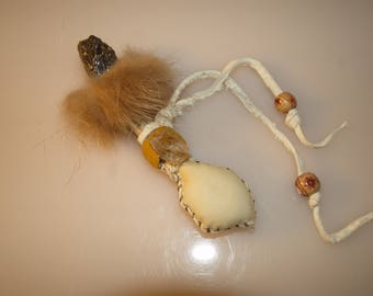 Shamanic Journeying Rattle with Antler, Amber, Quartz, and Fox Fur