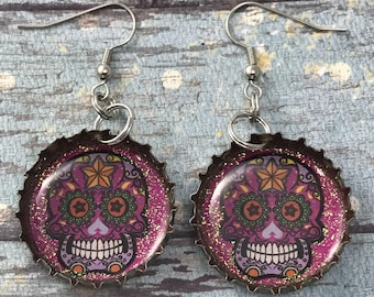 Day of the Dead, Dia de los Muertos, Sugar Skull Earrings, Recycled Bottle Caps, Bottle Cap Earrings, Recycled Jewelry, Upcycled Jewelry