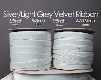 Silver Light Grey Nylvalour Swiss Velvet Ribbon 3/8inch, 5/8inch, 7/8inch, 1&7/16inch light grey nylon velvet, silver grey polyamide (702)