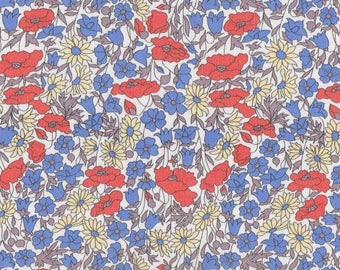 coupon design red white blue LIBERTY poppy and daisy fabric