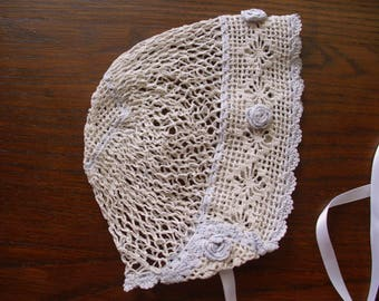 Vintage Baby Bonnet, White Baby Bonnet, Crocheted Baby Bonnet, Vintage Baby Clothes,  Antique Baby Bonnet, White Crochet Bonnet