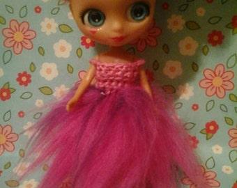 petite blythe and LPS blythe fur and crochet dress