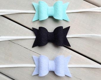 Felt Baby Bow Headband Set, Baby Headband, Baby Bow Headband Set, Baby Headband Set, Bow headband set, felt headband, bow headband