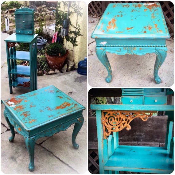 sold shabby chic table set seafoam green w distressed. Black Bedroom Furniture Sets. Home Design Ideas