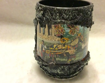 Vintage hand made Greek post card collage coffee cup mug. Free ship