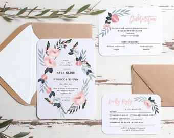 Blush & Blue Wedding Invitation