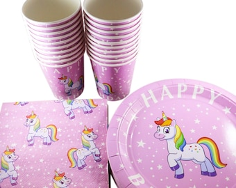 Rainbow Unicorn Birthday Party Pack - Pink Plates, Napkins & Cups - Serves 20
