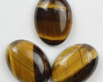 3 cabochons oval 25x18mm Tiger eye, natural stone, gemstone