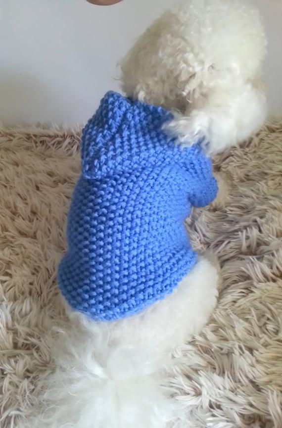Perro con capucha suéter azul del animal doméstico ropa punto