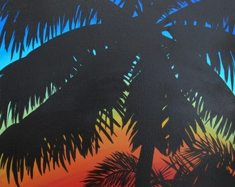 Tropical palm tree sillouette sunset in Costa Rica original painting on canvas 18 x 24