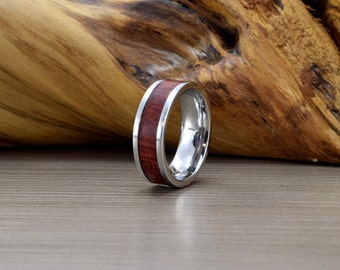 """Mens Cobalt and Bloodwood Wedding Ring, Mens Wedding Band, Unique Wedding Ring, Women's Wedding Ring, """"Pipe cut"""" Straight Edges"""