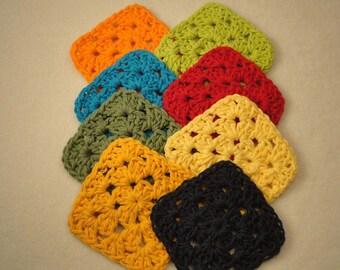 Fiesta Coasters - Drink Coasters in Fiesta Colors - Fiesta Dish Color Coasters - Colorful Coasters - Crocheted Coasters - Drink Coasters