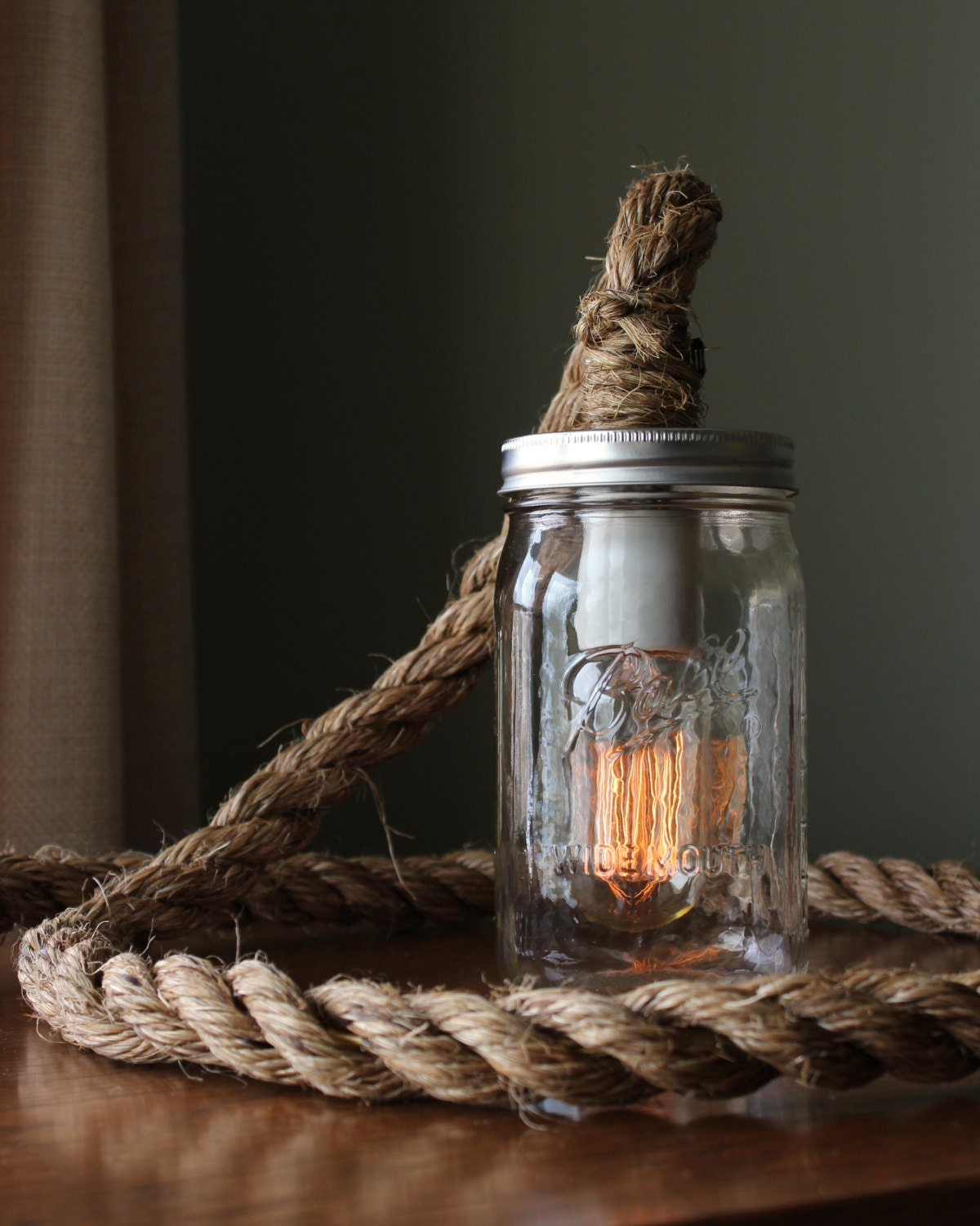 Rustic ball mason jar lamp light w edison bulb barn zoom arubaitofo Gallery