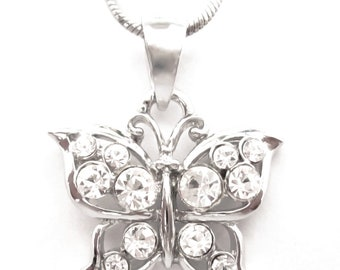 Crystal Butterfly Pendant Charm Chain Necklace Silver Tone Clear