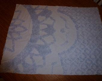 "31"" by 24"" Vintage Chenille Bedspread Piece   Powder Blue"