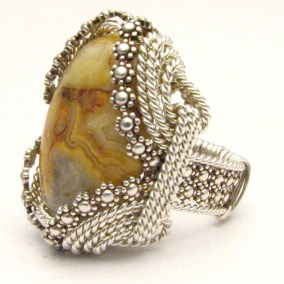 Handmade Sterling Silver Berry Wire Wrap Crazy Lace Agate Ring