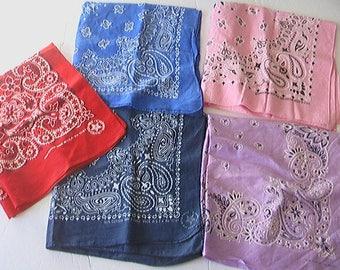 Vintage Bandana Lot Of Five RN#15187 RN#16429 Hav-A-Hank USA Red Navy Royal Pink Lilac
