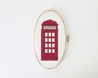 London Telephone Booth - Modern cross stitch pattern PDF - Instant download