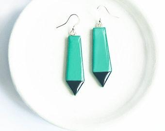 Emerald earrings, geometric jewellry, unusual earrings