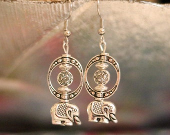 Handmade Elephant Earrings, gift for her, silver plated,dangle,nickel free