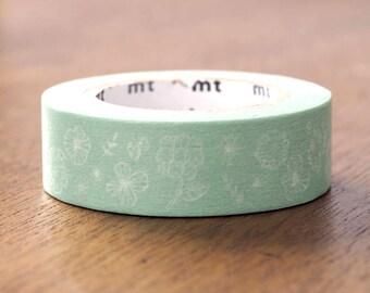 MT ex 2017 S/S - Japanese Washi Masking Tape - White Wild Flower on Green for journaling, planner washi, packaging, scrapbooking