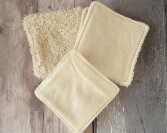 BULK BUY - Cleansing Pads - 10 cm x 10 cm - Make-up Remover Pads - Organic Cotton Terry Towelling - Organic Flannel - Washable