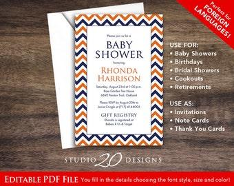 Instant Download Navy Blue Chevron Baby Shower Invitations Editable Pdf, DIY 4x6 Navy Orange Baby Shower Invitations AUTOFILL enabled 60D