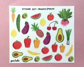 Sticker Set - Veggies and Fruits - transparent - pen&alex