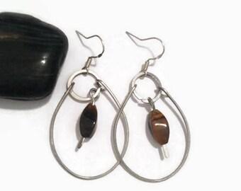 Tigers Eye Hammered Dangle Earrings/ Tigers Eye Wire Wrap Earrings/ Hammered Earrings/ Wire Wrap Earrings/ Wire Wrap Jewelry