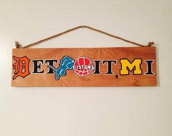 Detroit, Michigan Sports Pride Wooden Sign