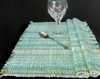 Placemats Pair - Seafoam Turquoise handwoven washable