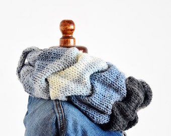 Cable knit infinity scarf Blue infinity scarf ruffle neckwarmer scarf chunky knit scarf  Denim gray white cable knit scarf cozy wrap cowl