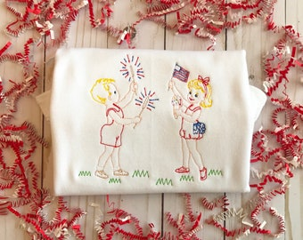 Vintage Patriotic Children Embroidered Shirt