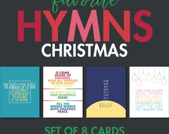 Christmas Hymn Greeting Cards - Set of 8 Cards (2 of each design)