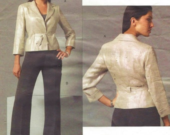 Anne Klein Womens Above Hip Jacket and Pants OOP Vogue Sewing Pattern V2896 Size 8 10 12 Bust 31 1/2 to 34 UnCut American Designer