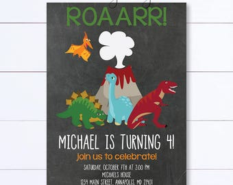 Chalkboard Dinosaur Invitation, Dinosaur Birthday Invitation, Roar Dinosaur Invite, Dinosaur Birthday, Party Invitation, Chalkboard Invite