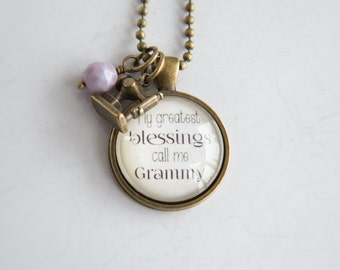 Grammy Pride Necklace - Family Jewelry - Mothers Day Gift - Text Jewelry - Personalized - Custom Necklace - Blessings - Nana - Grandma Pride