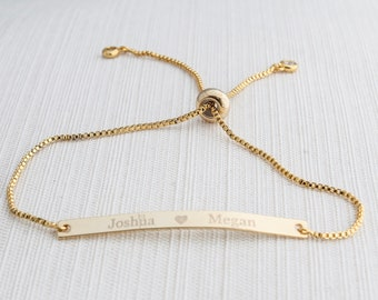 Name Bracelet, Silver, Gold or Rose gold plated, Date Bracelet,  Engraved bar bracelet, personalized bracelet, couple bracelet