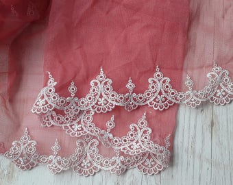 Coral lace embrodiered elastic tulle sold by the yard fine decoration lace 20cm wide / 8 inches wide lace