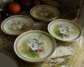 Vintage RS Reinhold Schlegelmilch German Porcelain Green Mark, Hand Painted Floral Poppies Dessert Plates Set 6, Lovely On Any Table