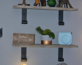 "Handmade Metal Shelf Brackets 5 3/4""-Custom Light Load Industrial Metal Shelf Bracket Set-Curled Metal Shelf Brackets-Rustic Farmhouse Decor"